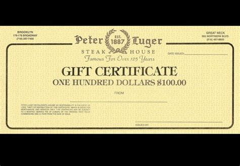 100 peter luger gift certificate gift certificates - Peter Lugers Gift Card