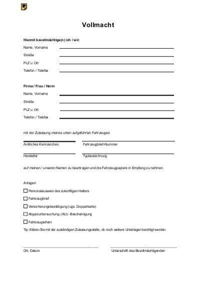 Kfz Versicherung Abmelden Vollmacht by Vollmacht F 252 R Zulassungsstelle Klemmer International