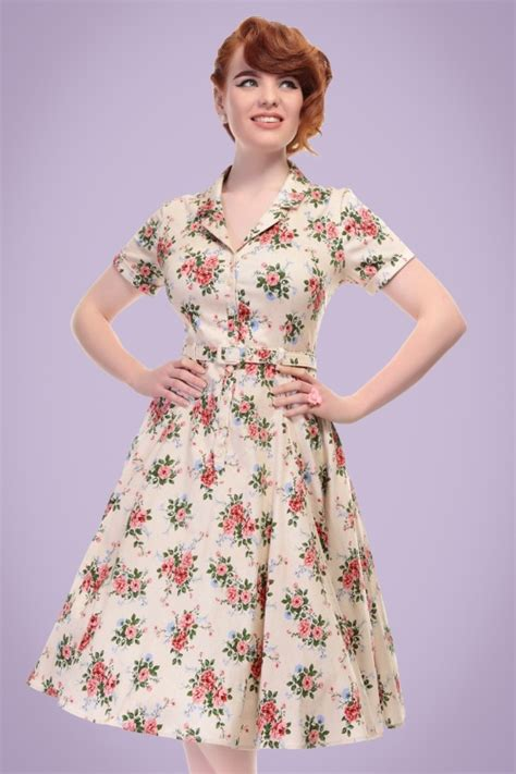 40s swing 40s caterina floral swing dress in beige