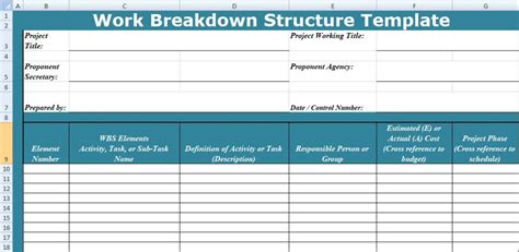 work breakdown structure excel template wbs excel tmp