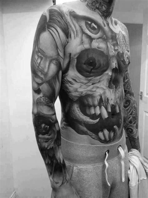 skull tattoo full body skull tattoo on man full body