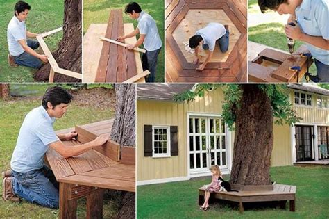 build a tree bench how to build a tree bench garden pinterest