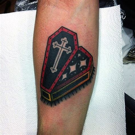 old school cross tattoos 90 coffin designs for buried ink ideas