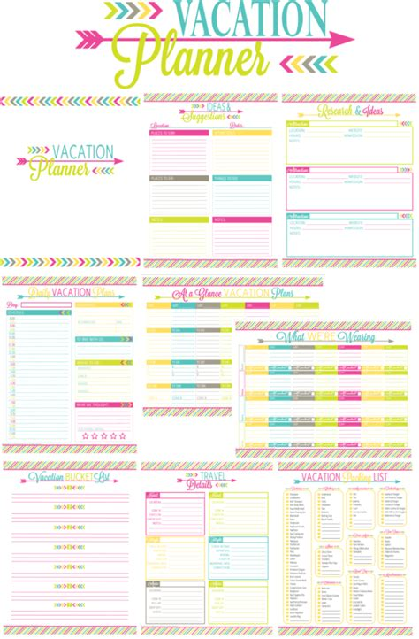 printable daily vacation planner printable vacation planner and duo binder giveaway