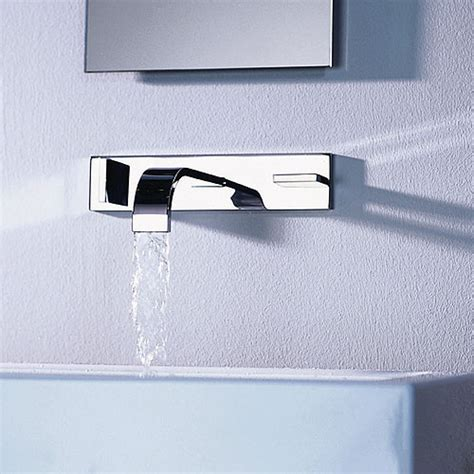 bathroom wall faucets dornbracht mem 3 hole wall mounted faucet modern