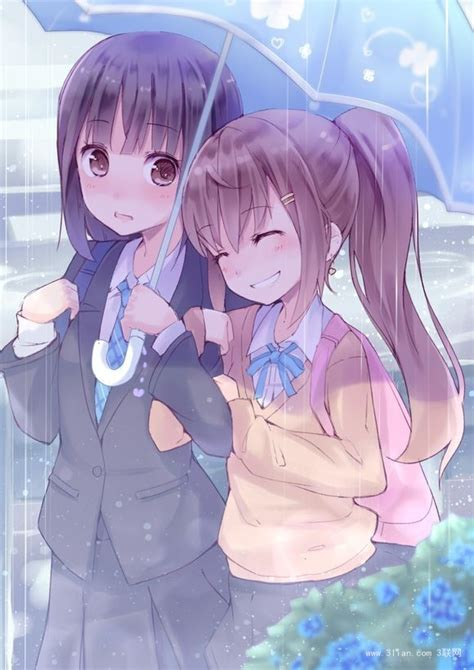 girl yuri anime love couples 唯美手绘动漫闺蜜图片