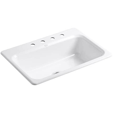 White Cast Iron Kitchen Sink Kohler Bakersfield Drop In Cast Iron 31 In 4 Single Basin Kitchen Sink In White K 5832 4 0