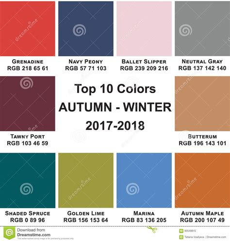 top colors 2017 top 10 colors autumn winte 2017 2018 stock illustration