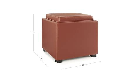 crate and barrel stow storage ottoman stow persimmon 17 quot leather storage ottoman crate and barrel