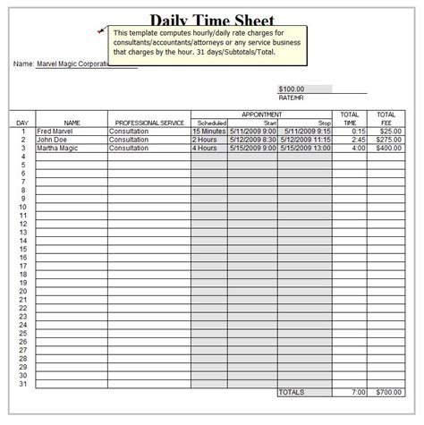 Excel Daily Timesheet Template Daily Timesheet Template Excel Daily Timesheet Template Xls