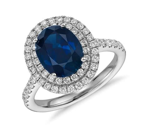 oval sapphire and halo micropav 233 ring in