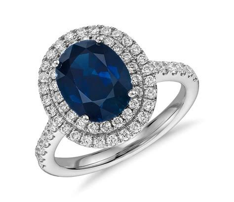 Oval Sapphire and Diamond Double Halo Micropavé Ring in
