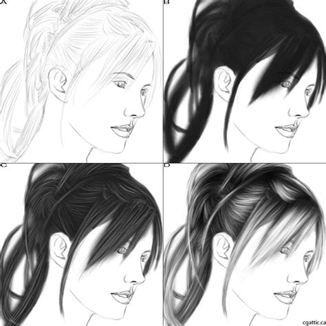 step by step hairstyles to draw how to draw hair in 4 steps with photoshop