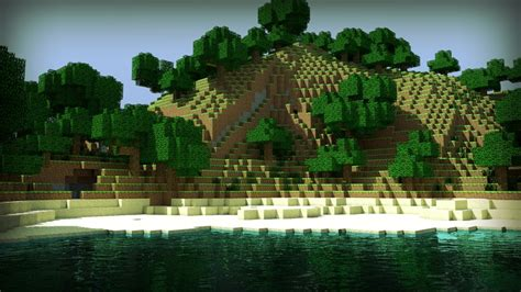 wallpaper craft nature water mountains minecraft herobrin skyscapes 1920x1080