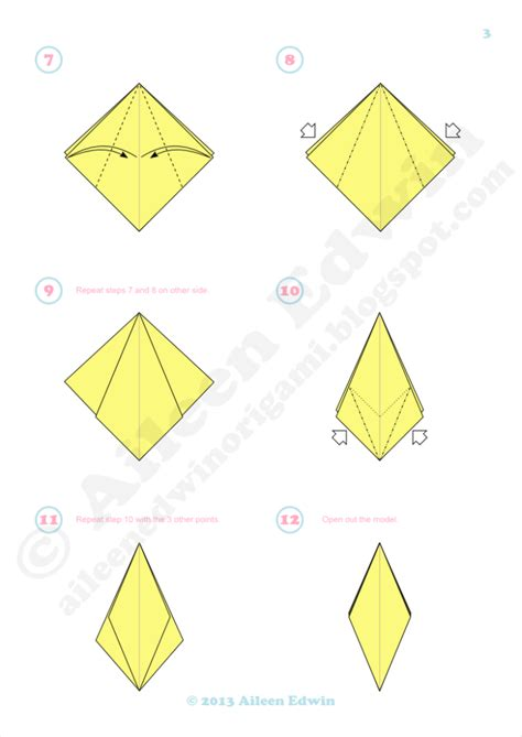 Origami Petals - free coloring pages aileen edwin origami 3 petal origami