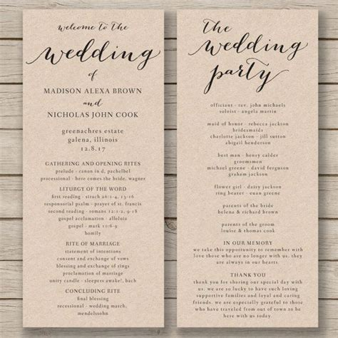 wedding order of service cards template wedding program templates program template and wedding