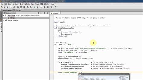 tutorial python list python beginner tutorial lottery game with list youtube