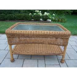 oakland living resin wicker patio coffee table with glass
