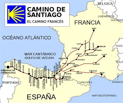 camino de santiago mappa file ruta camino de santiago frances svg