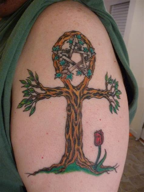 egypt cross tattoo cross tree on shoulder
