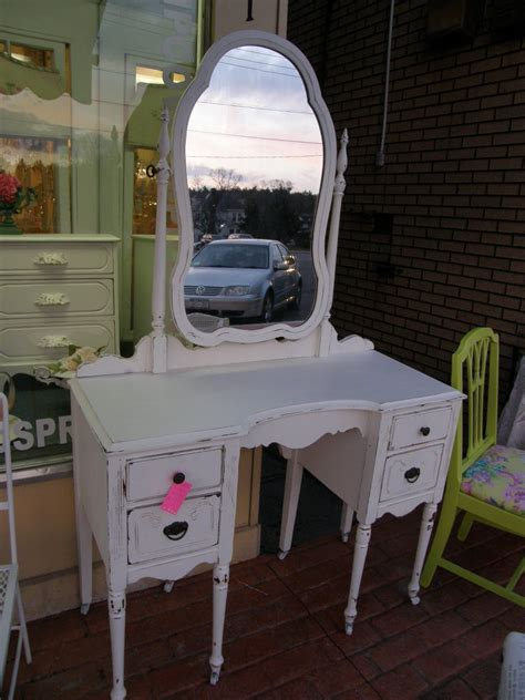 antique vanity shabby chic white distressed cottage make up