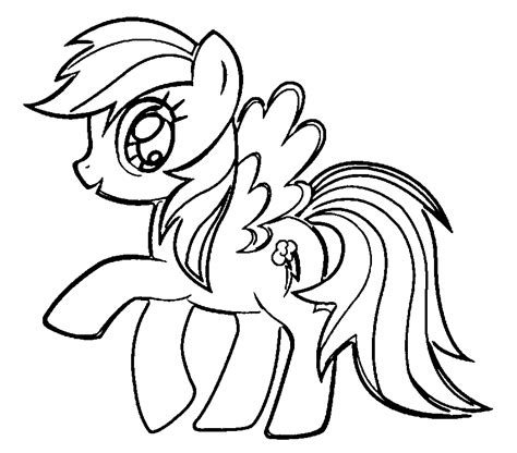 rainbow dash free colouring pages