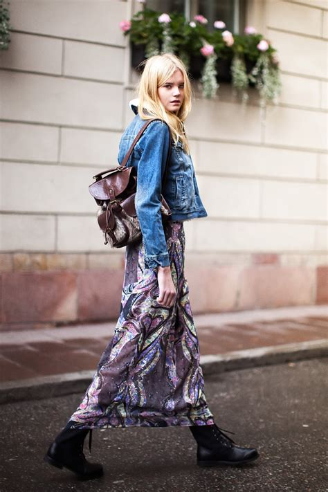 how to wear denim jackets with maxi skirts 2018
