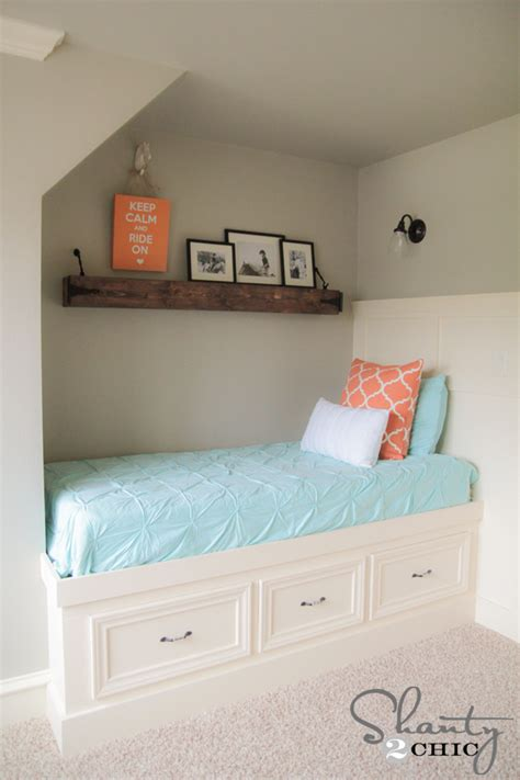 twin bed with dresser built in diy floating rustic shelf or mantle shanty 2 chic