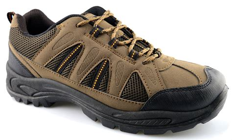 mens new hiking walking trail lace up grip sole trainers