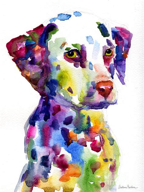 colorful dogs colorful dalmatian puppy portrait painting by svetlana novikova