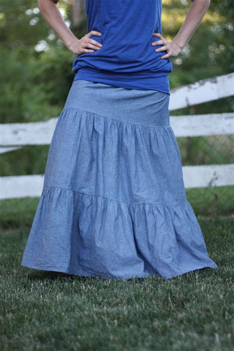 three tiered denim skirt sizes 2 20
