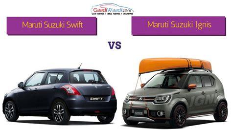 maruti and suzuki maruti suzuki vs maruti suzuki ignis spec comparison
