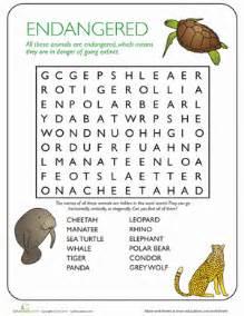 animal word search endangered species worksheet