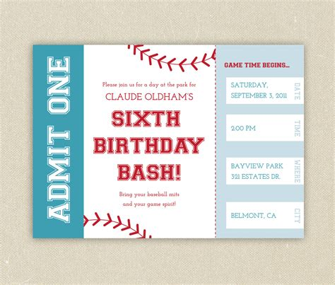 baseball ticket template baseball ticket themed birthday invitation