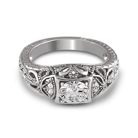 14k white gold vintage inspired filigree solitaire
