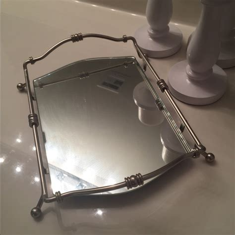 mirrored bathroom tray 60 off other mirrored bathroom tray with brushed nickel accent from hali s closet