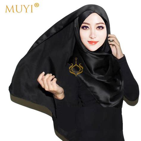 Jilbab Segiempat Satin Black Lakun 1 aliexpress buy 2016 muslim plain satin