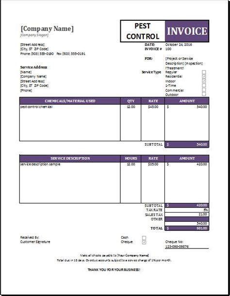Pest Invoice Template by Pest Invoice Sle Excel Template Word Excel