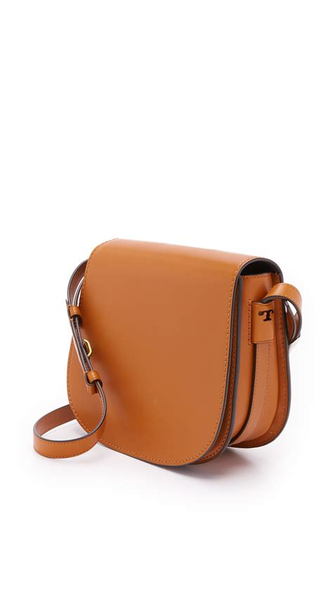 burch leather bag burch leather saddle bag in brown lyst