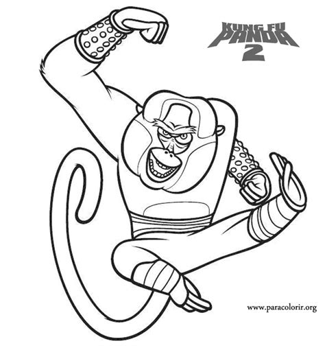 free coloring pages of monkey kung fu panda kung fu panda master monkey kung fu panda 2 coloring page