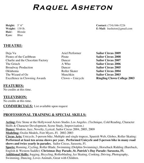 child actor resume template actors studio new faces