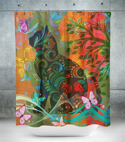 whimsical curtains cat shower curtain butterflies funky whimsical by folkandfunky