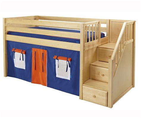 Maxtrix Low Loft Bed With Staircase Natural Bed Frames Low Bed Frames For Lofts