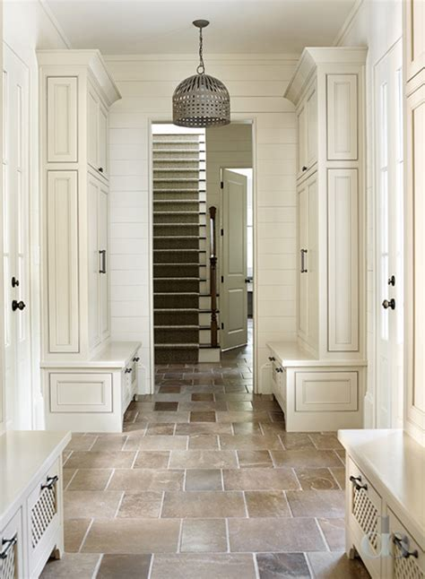 mudroom floor ideas mudroom with separate lockers and natural stone floor