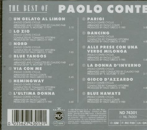 paolo conte the best of paolo conte cd the best of 1979 82 cd album