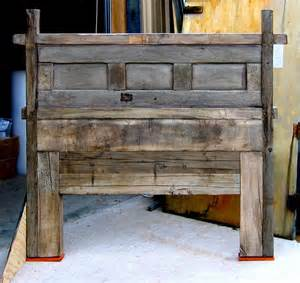 reclaimed barn wood headboard home