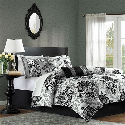 Black And White Bedroom Set by Beautiful 7pc Modern Black White Grey Floral