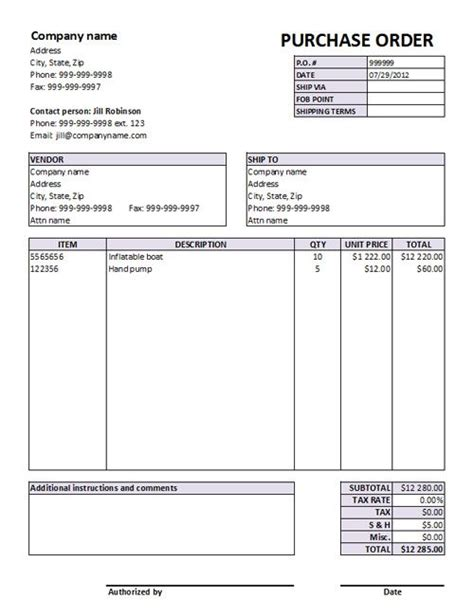 purchase order form templates free download po
