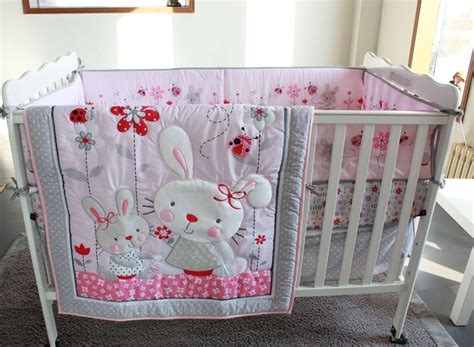 baby nursery bedding set 7pc crib infant room baby bedroom set nursery bedding pink rabit cot bedding set for