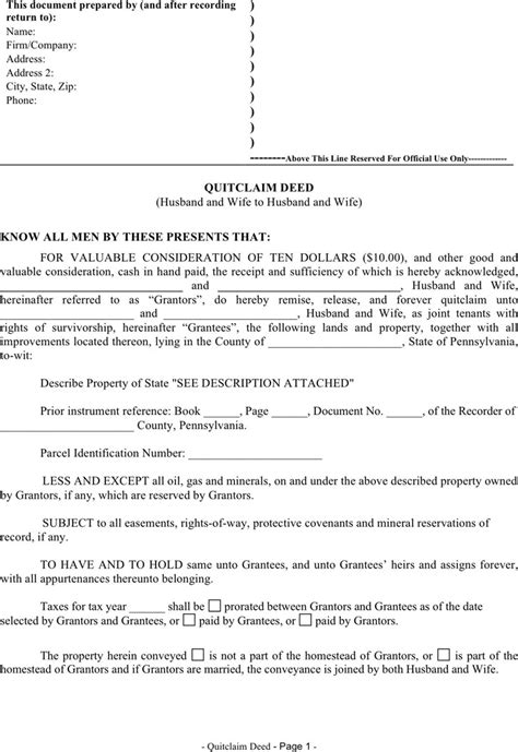 Pennsylvania Quitclaim Deed Form Download Free Premium Templates Forms Sles For Jpeg Pennsylvania Deed Template